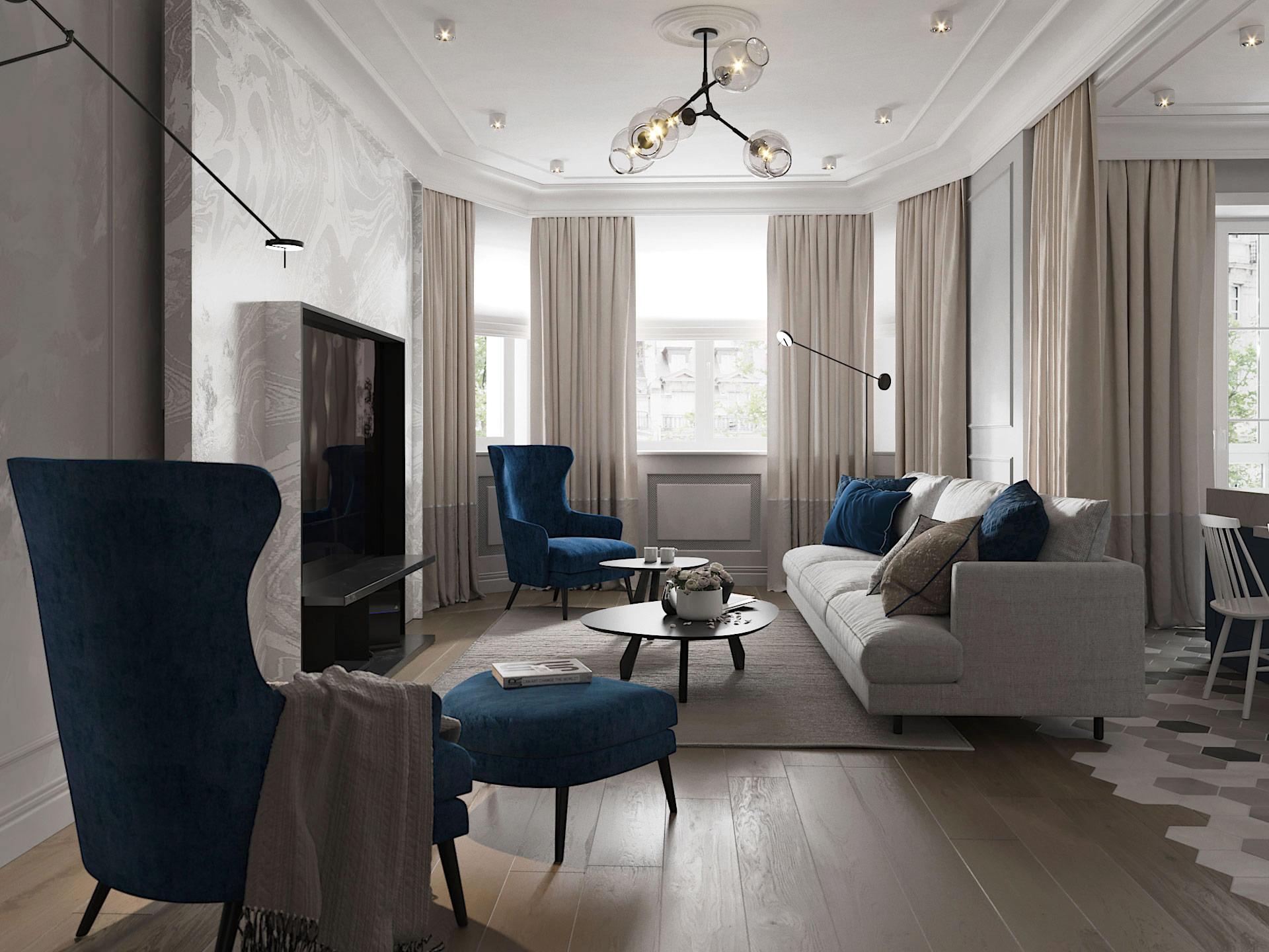 Дизайн интерьера гостиной. Синий.