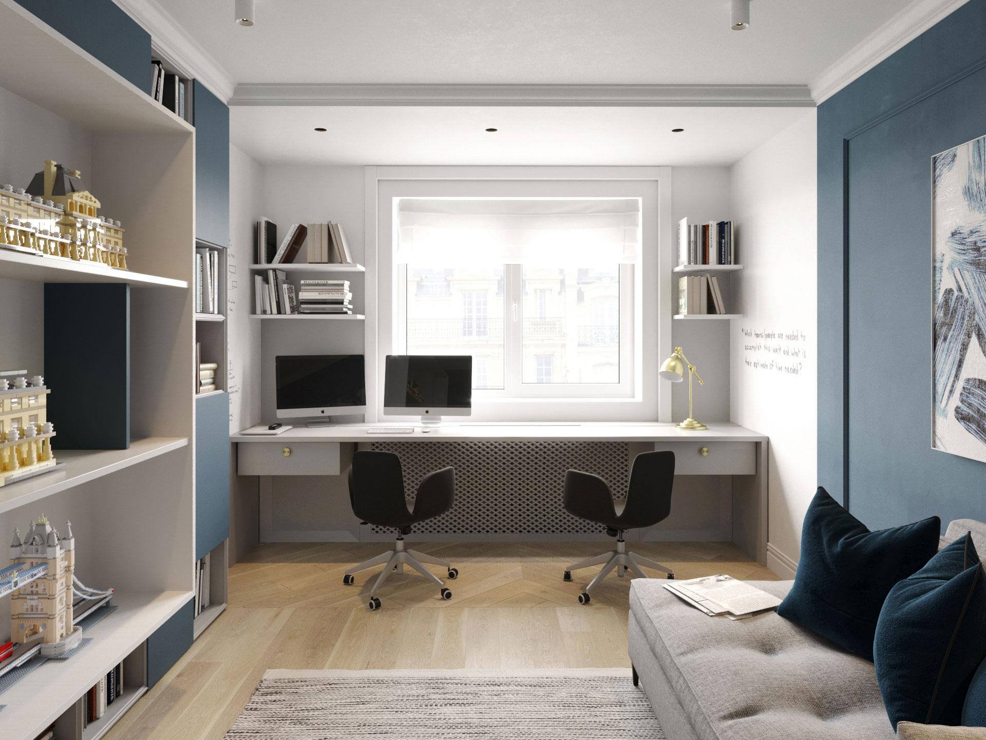 Дизайн интерьера кабинета. Синий.