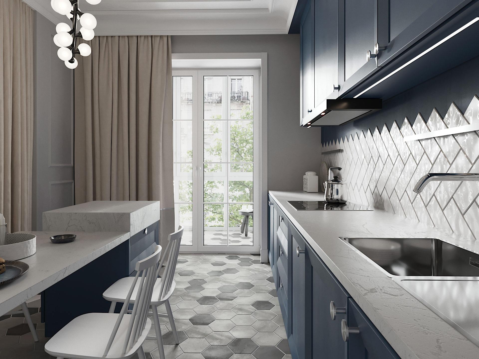 Дизайн интерьера кухни. Синий.