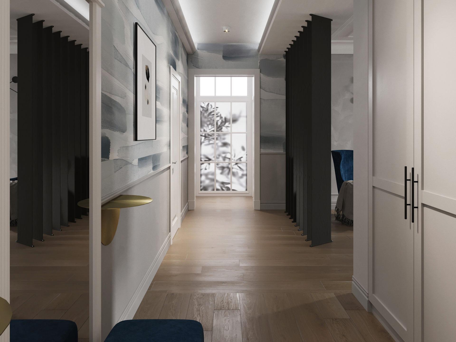 Дизайн интерьера коридора. Синий.