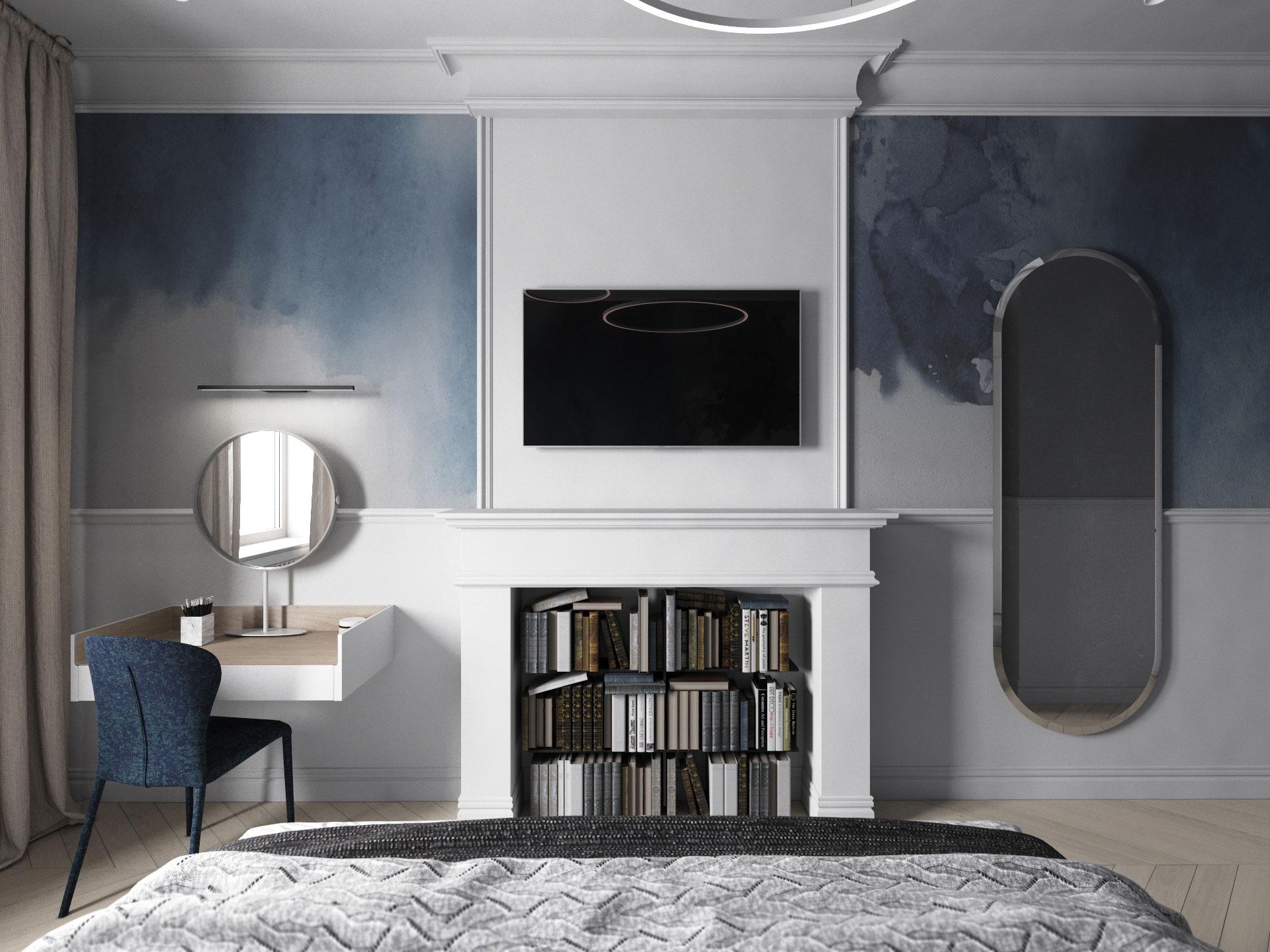Дизайн интерьера спальни. Синий.